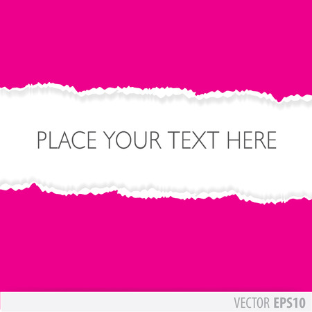 Pink paper torn in the middle, with a white background Vector