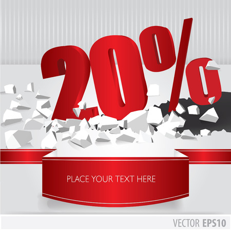Red 20 percent discount on vector cracked ground on white background Vector
