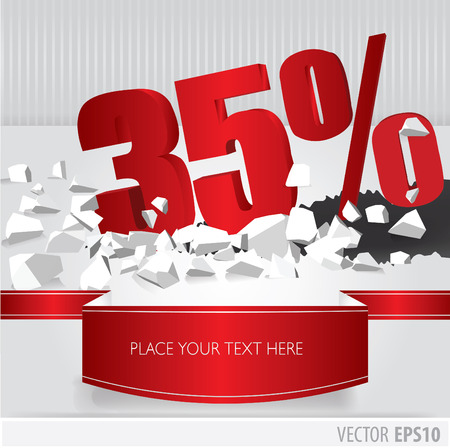Red 35 percent discount on vector cracked ground on white background Vector