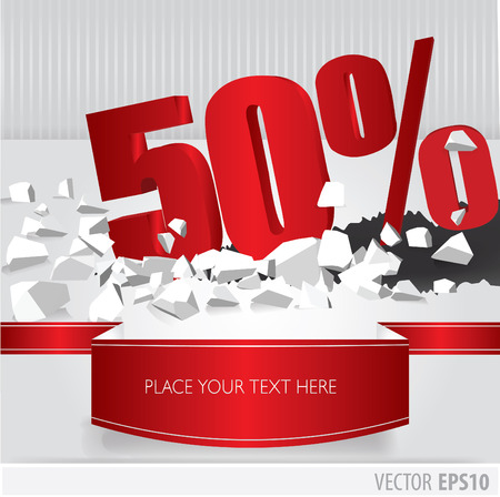 Red 50  percent discount on vector cracked ground on white background