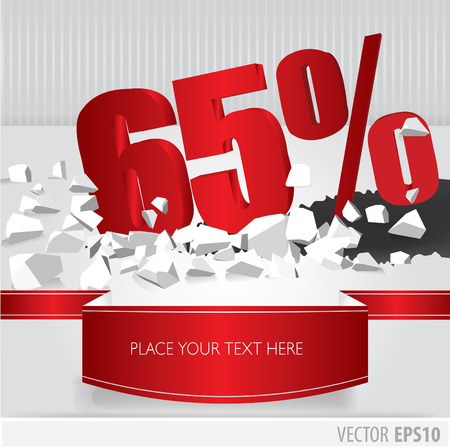 Red 65 percent discount on vector cracked ground on white background Vector