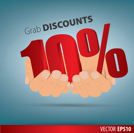 grab: Grab discounts. Hands hold 10 percent discount. vector banner discount of 10 percent. EPS 10 Illustration