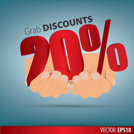 grab: Grab discounts. Hands hold 20 percent discount. vector banner discount of 20 percent. EPS 10