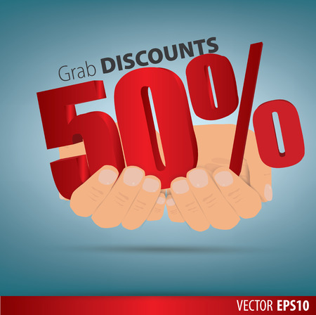 grab: Grab discounts. Hands hold 50 percent discount. vector banner discount of 50 percent. EPS 10