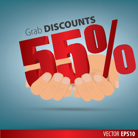 grab: Grab discounts. Hands hold 55 percent discount. vector banner discount of 55 percent. EPS 10 Illustration
