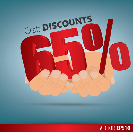 grab: Grab discounts. Hands hold 65 percent discount. vector banner discount of 65 percent. EPS 10