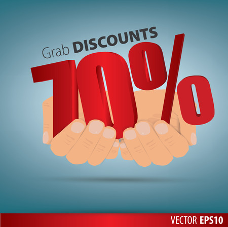 grab: Grab discounts. Hands hold 70 percent discount. vector banner discount of 70 percent. EPS 10