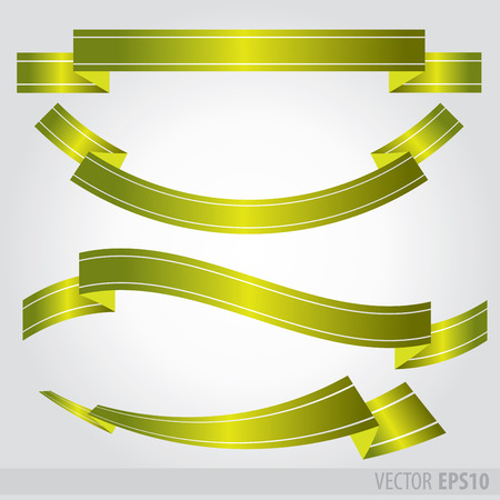 Set green ribbons Vector