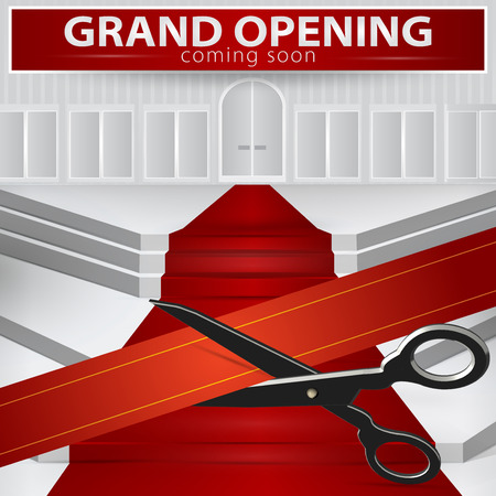 Shop grand opening - cutting red ribbon. Vector , EPS 10. Ilustrace
