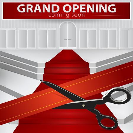 opening party: Tienda inauguraci�n - cortar la cinta roja. Vector, 10 EPS.