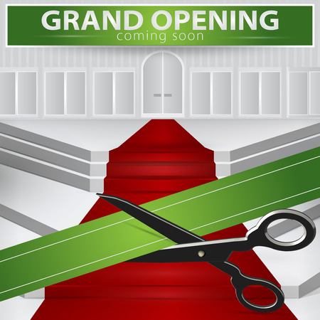 ribbon cutting: Shop grand opening - cutting green ribbon. Vector , EPS 10.