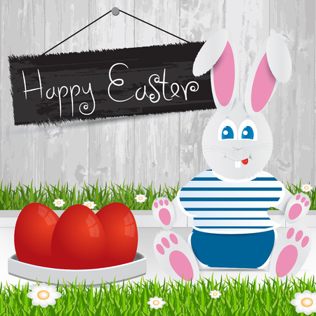 Easter bunny. Happy Easter . red Easter eggs.The grass with a wooden fence and flowers. Vector