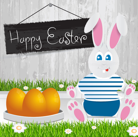Easter bunny. Happy Easter . Orange Easter eggs.The grass with a wooden fence and flowers. Vector