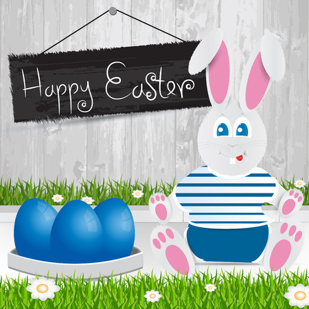 Easter bunny. Happy Easter . Blue Easter eggs.The grass with a wooden fence and flowers. Vector