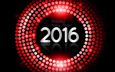 discoball: Vector - Happy New Year 2016 - gold disco lights frame