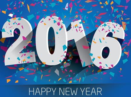 nowy: Szczęśliwego nowego roku 2016 ze spadkiem konfetti. Wektor papieru ilustracji. eps 10 Ilustracja