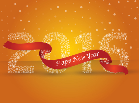 ribon: Happy new year 2016, the number made with flakes wrapped in red tape. Vector eps 10