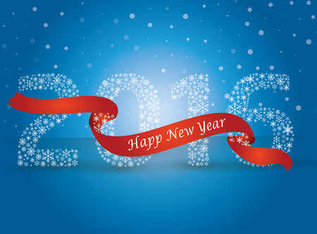 red tape: Happy new year 2016, the number made with flakes wrapped in red tape. Vector eps 10