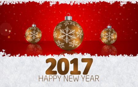 Christmas ball  on winter background with snow and snowflakes. Happy New Year 2017 Vector illustration Stok Fotoğraf