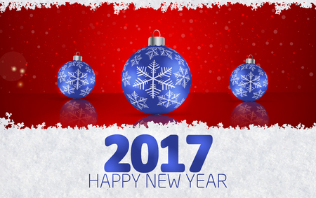 Christmas ball  on winter background with snow and snowflakes. Happy New Year 2017 Vector illustration Reklamní fotografie