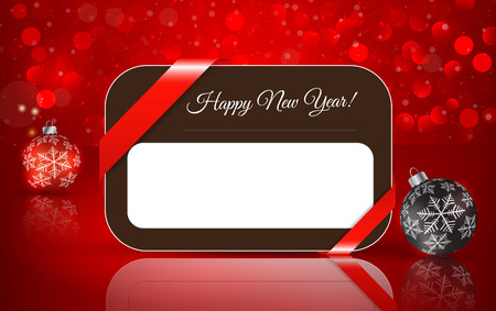 Greeting card for Happy New Year with Christmas ball on winter background with snow and snowflakes.