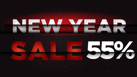 New Year Sale . Big winter sale,  55  percent Ilustrace