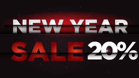 year: New Year Sale . Big winter sale,  20 percent Illustration
