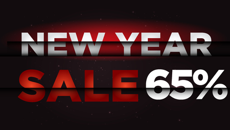year: New Year Sale . Big winter sale,  65 percent Illustration