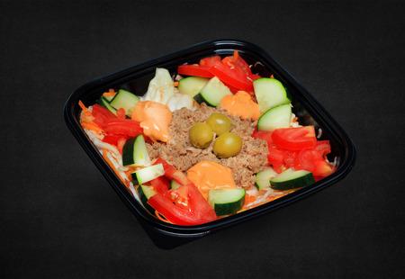 tuna salad in a plastic box . Stok Fotoğraf