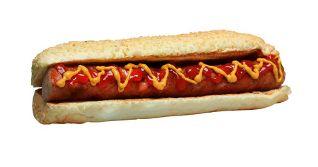 Hot dog grill with mustard isolated on white background..