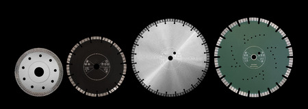 Cutting discs with diamonds - Diamond discs for concrete isolated on the black background