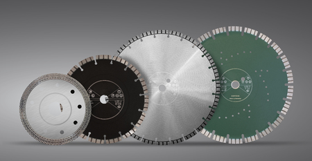 Cutting discs with diamonds - Diamond discs for concrete isolated on the gray background Stok Fotoğraf - 86128888