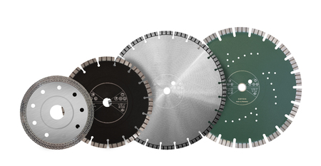 Cutting discs with diamonds - Diamond discs for concrete isolated on the white background Banco de Imagens
