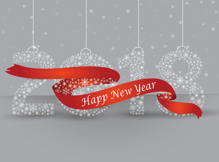 Happy new year 2018, the number made with flakes wrapped in red tape. Vector eps 10 Çizim