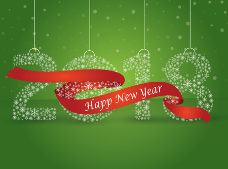 Happy new year 2018, the number made with flakes wrapped in red tape. Vector eps 10 Illustration