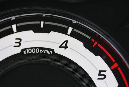 Diesel vehicle tachometer redline Stock Photo