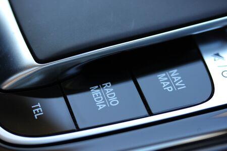 Modern vehicle infotainment buttons Standard-Bild
