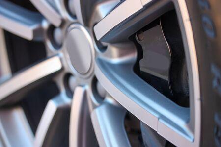 Close up of large alloy wheel Stock fotó