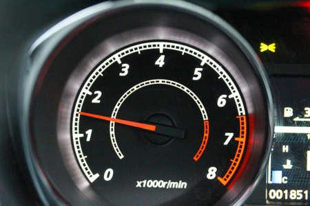 Modern vehicle tachometer at 1500 rpm Stock Photo