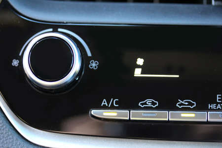 Vehicle ventilation with fan on lowest setting Stock Photo
