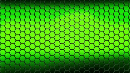 Illustration. Abstract background consisting of black hexagons on a green background with a lighter center.