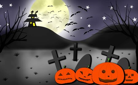 Halloween concept. Night landscape with warped old house, tombstones, crosses and carved pumpkins in the foreground and night sky with full moon, stars and a flock of bats in the background.