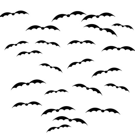 Halloween decoration. Cartoon silhouettes of flying bats isolated on white background. Stock Photo