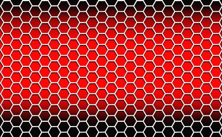 Illustration. Abstract background consisting of white hexagons on a red background with dark edges. Stock Photo