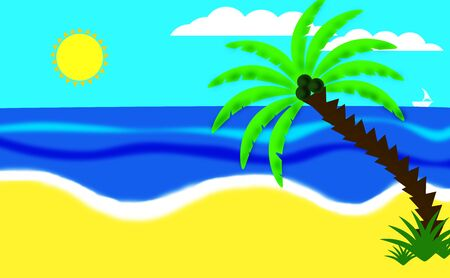 Illustration. Coconut tree on the beach with blue sea, sky and sun in the background.