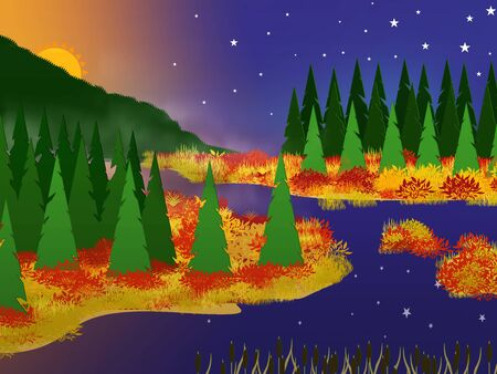 Cartoon landscape with a creek, shores covered with dry grass and coniferous trees with the sun setting behind the mountain and the stars in the sky reflecting on the surface.