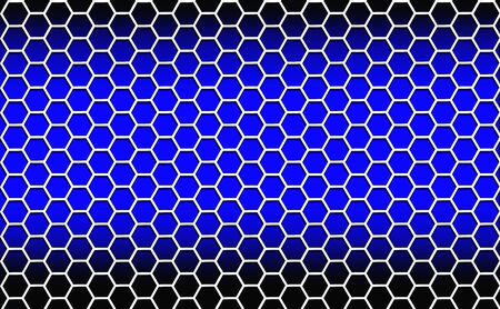 Illustration. Abstract background consisting of white hexagons on a blue background with dark edges. Banco de Imagens
