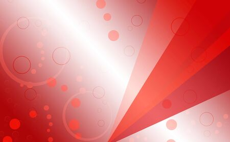 Five triangles of different shades of red on a red blurry background with gradient dotted circles of different sizes.