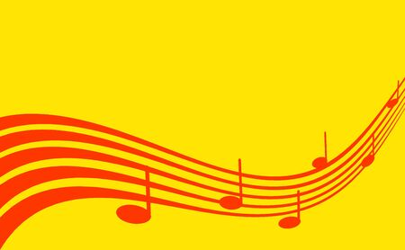 Abstract background. Red musical notes on golden background. Copy space.