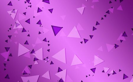 Cluster of triangle with different shades of purple on purple gradient background. Seamless texture.